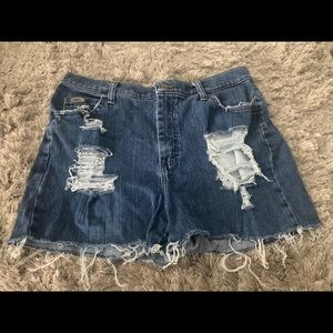 Lee Distressed Blue Jean Shorts Ripped Look